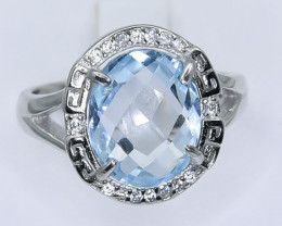 19.08 Crt Natural Topaz With Cubic Zirconia 925 Silver Ring