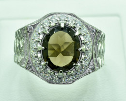 50.46 Crt Natural Smoky Quartz With Cubic Zirconia 925 Silver Ring