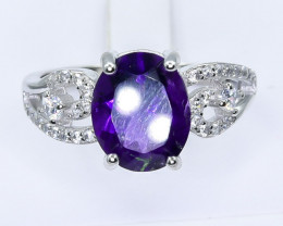 20.51 Crt Natural Amethyst With Cubic Zirconia 925 Silver Ring