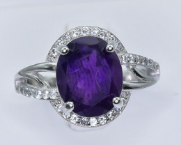 20.09 Crt Natural Amethyst With Cubic Zirconia 925 Silver Ring