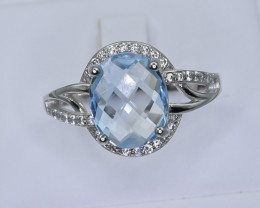 21.74 Crt Natural Topaz With Cubic Zirconia 925 Silver Ring