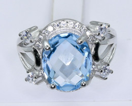 22.97 Crt Natural Topaz With Cubic Zirconia 925 Silver Ring