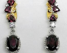 Rhodolite Garnet and Zircon Earrings 2.75 TCW