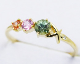 14k Gold Natural Color Sapphires & Diamond Ring Size 7 - R12339 - G104