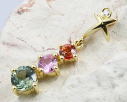 14k Gold Natural Color Sapphires & Diamond Pendant - P12339 - G102