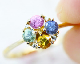 14k Gold Natural Color Sapphires & Diamond Ring Size 7 - R12308 - G40
