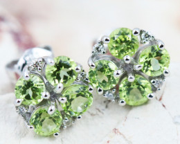 14k Gold Natural Peridot & Diamond Earrings - E12308 - G44