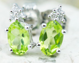 18KW White Gold Peridot & Diamond Earrings - E9798C - G24
