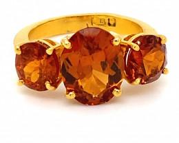 Spessartine Garnet 6.78ct Solid 22K Yellow Gold Multistone Ring