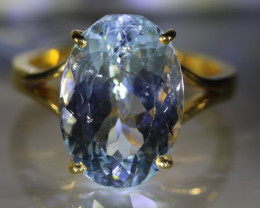 Aquamarine 10.45ct Solid 22K Yellow Gold Ring