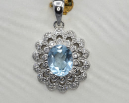 Natural Topaz, CZ and 925 Silver Pendant, Elegant Design