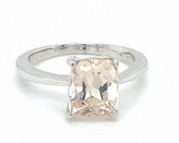 Imperial Topaz 4.40ct Solid 18K White Gold Ring