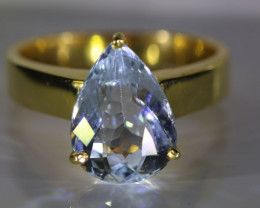 Aquamarine 3.35ct Solid 18K Yellow Gold Ring