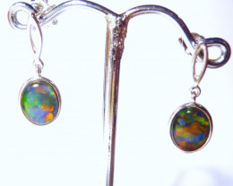 Pretty Australian Gem Opal and Sterling Silver Drop Earrings (z1076c)