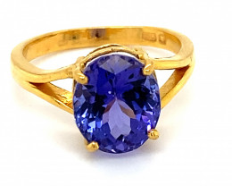 Tanzanite 5.10ct Solid 22K Yellow Gold Ring High Grade for Special Person
