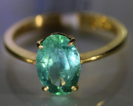 Emerald 2.23ct Solid 22K Yellow Gold Ring Tanzania