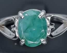 21.05 Crt Natural Emerald 925 Sterling Silver Ring AB (02)