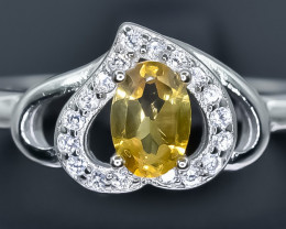 15.82 Crt Natural Citrine 925 Sterling Silver Ring AB (02)