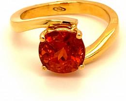 Spessartine Garnet 3.16ct Solid 18K Yellow Gold Ring