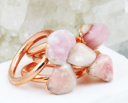 Five Peru Pink Opal Copper Electroformed Rings NA 280