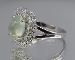 Natural Prehnite, CZ and 925 Silver Ring