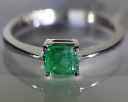 Emerald .50ct Solid 18K White Gold Ring