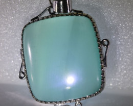 Green Cats Eye Calcite 64.41ct Solid 18K White Gold Pendant