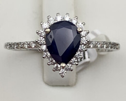 Blue sapphire 925 Sterling white rhodium silver ring