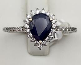 Blue sapphire 925 Sterling white rhodium silver ring