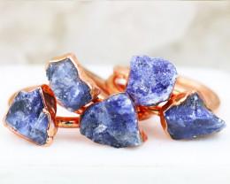 Five Healing Soldalite Copper Electroformed Rings NA 282