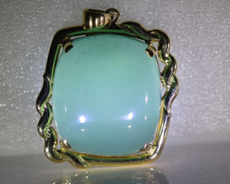 Cats Eye Green Calcite 53.17ct Solid 18K Yellow Gold Pendant