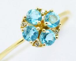 14k Gold Topaz & Diamond Ring Size 7 - R12308 - G51