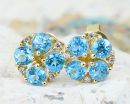 14k Gold Blue Topaz & Diamond Earrings - E12308 - G52
