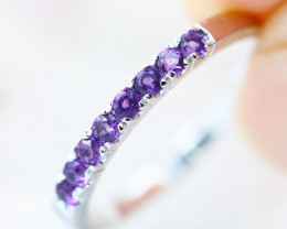 14k White Gold Amethyst Ring Size 6.75 - R12205 - G57