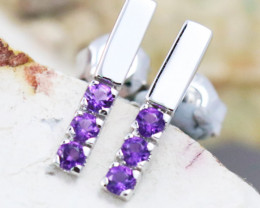 14k White Gold Amethyst Earrings - E12205 - G58