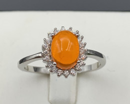 Natural Orange opal  925 Sterling white rhodium silver ring