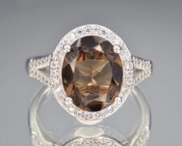Natrual Smoky Quartz, CZ and 925 Silver Ring