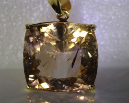 Imperial Topaz 47.73ct Solid 18K Yellow Gold Pendant