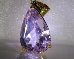 Pink Kunzite 17.91ct Solid 18K Yellow Gold Pendant