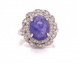 Natural Ta nzanite ring with White CZ in Silver 925.