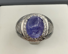 Natural Tanzanite ring with White CZ in  Silver 925.