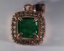Emerald .54ct Rose Gold Finish Solid 925 Sterling Silver Pendant VVS