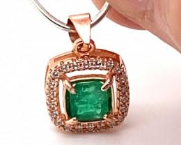 Emerald .54ct Rose Gold Finish Solid 925 Sterling Silver Pendant VVS