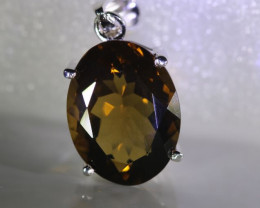 Smoky Quartz 7.60ct Platinum Finish Solid 925 Sterling Silver Pendant