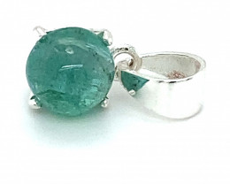 Emerald 3.04ct Platinum Finish Solid 925 Sterling Silver Pendant