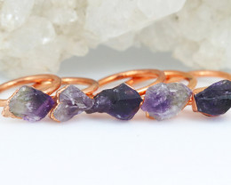Five C Amethyst Copper Electroformed Rings size 8,7,6,5 , NA 306