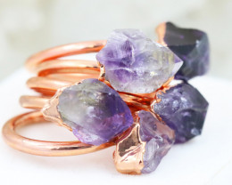 Five  Amethyst Copper Electroformed Rings SIZE  8,7,5  NA 307