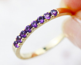 14k Yellow Gold Amethyst Ring Size 7.5 - R12205 - G63
