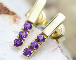 14k Yellow Gold Amethyst Earrings - E12205 - G64