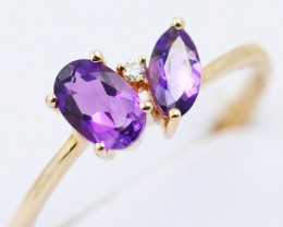 14k Rose Gold Amethyst & Diamond Ring Size 7 - R12307 - G69